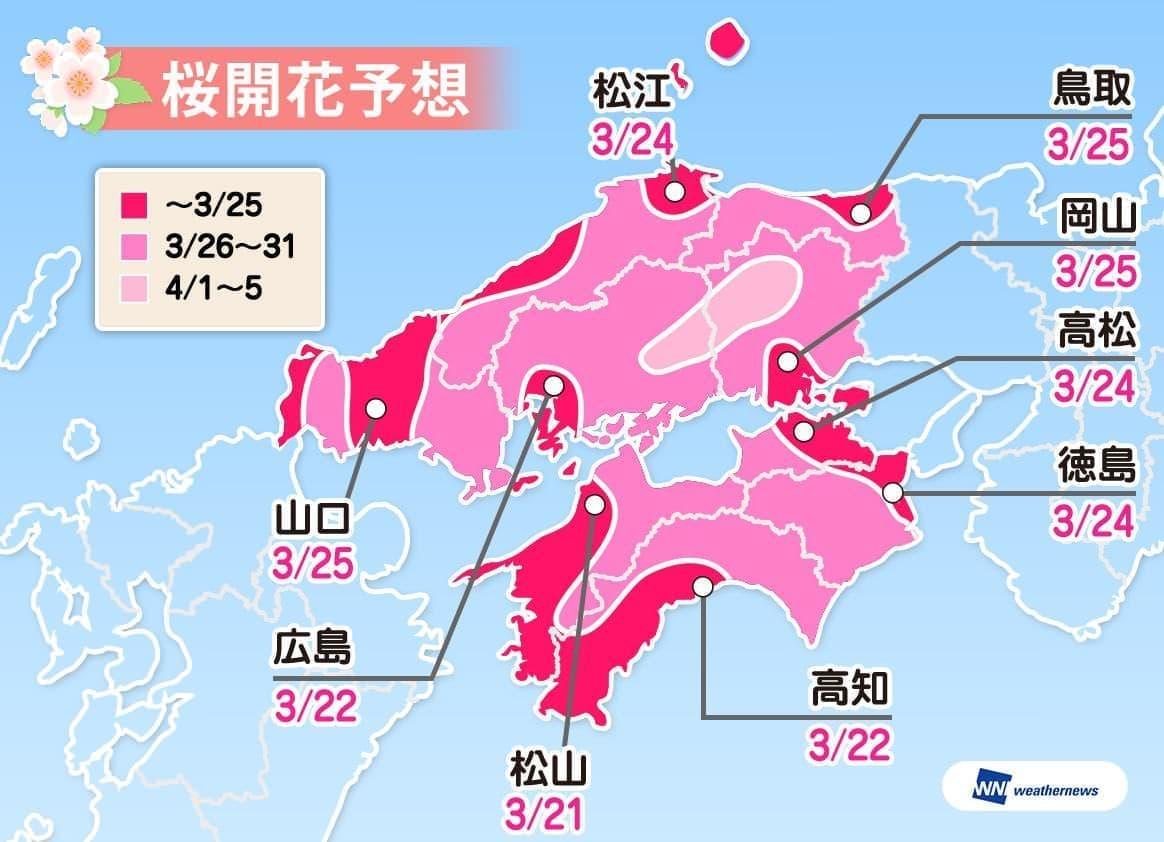 中国・四国の桜開花予想