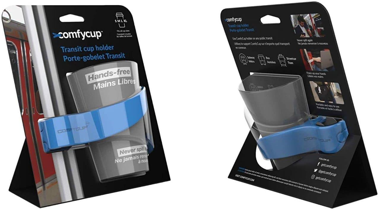 公共交通機関向けのカップホルダー「ComfyCup」
