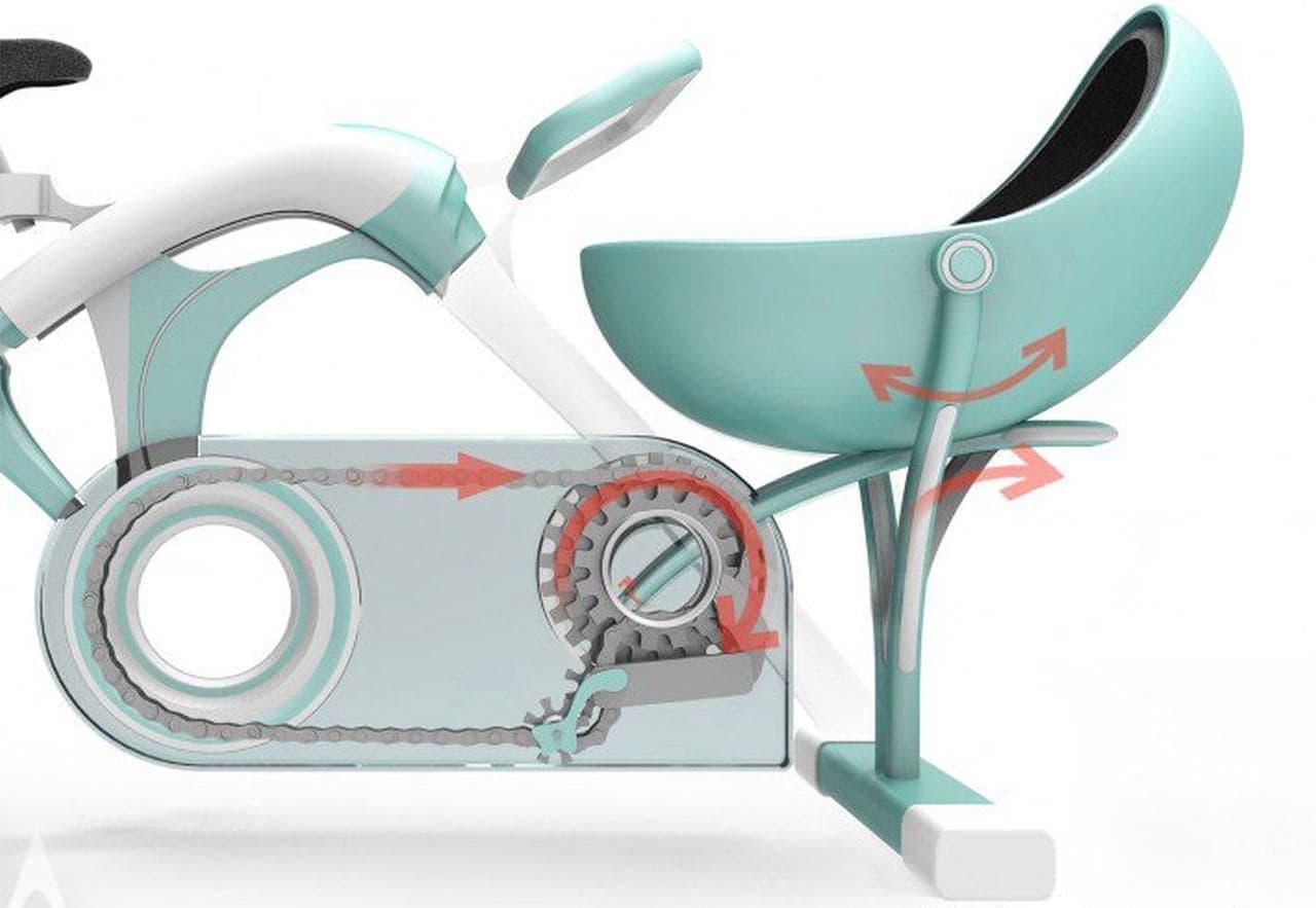 ペダルを漕いで子どもをあやせるエアロバイク「Spinning Together」