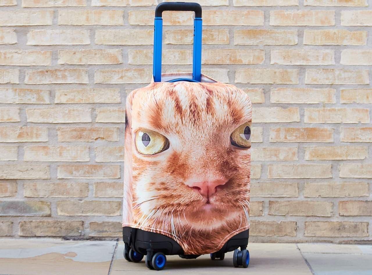 ペットの写真をスーツケースカバーにする「Pet Head Case」