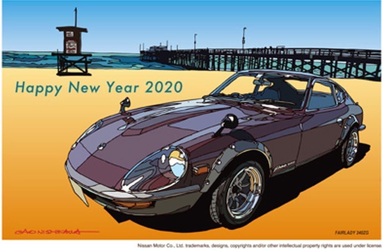 日産「GT-R」「フェアレディZ」の歴代モデルを描いた年賀状