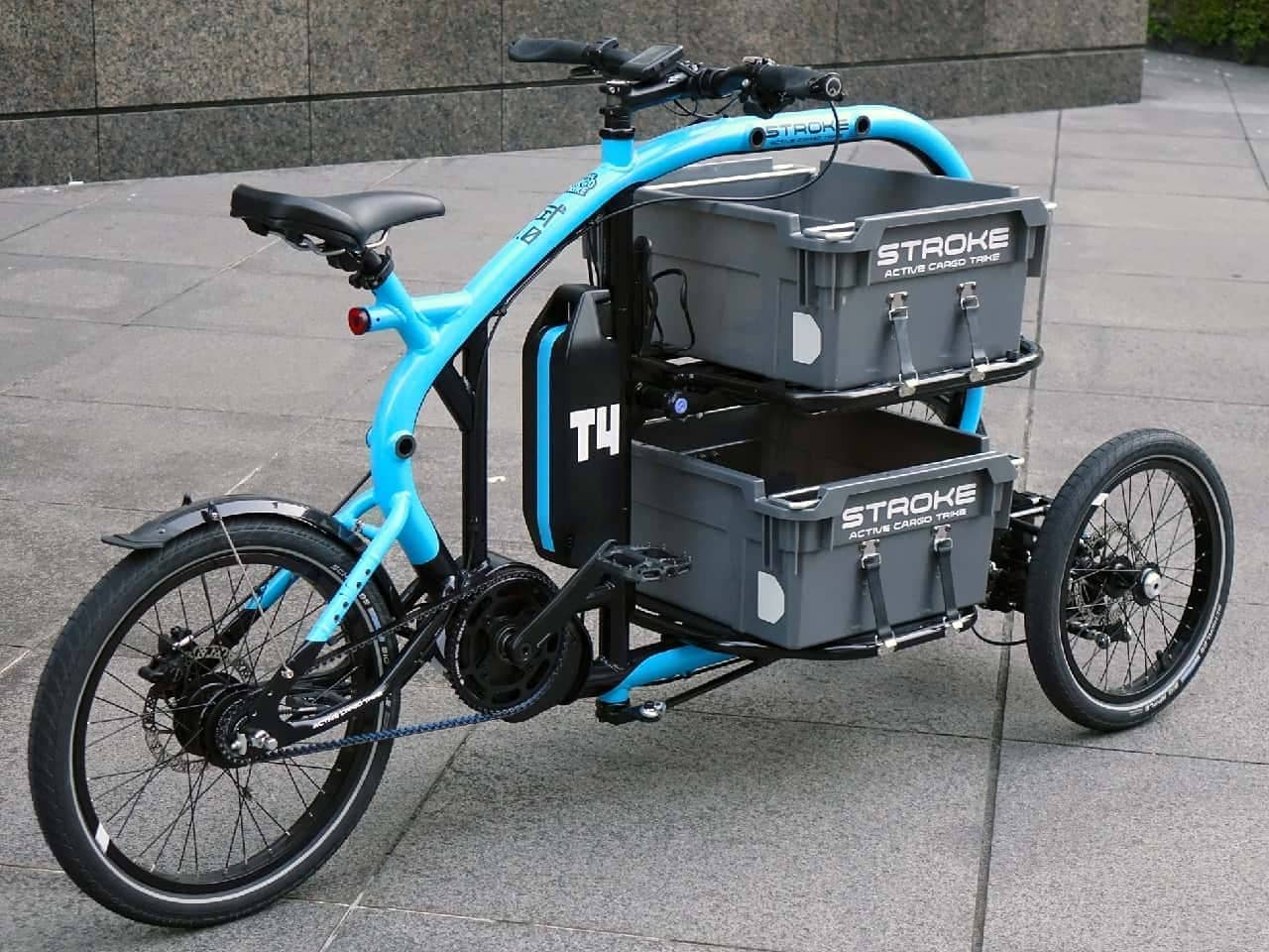 """自転車でも「見せる収納(搭載?)」―""""高さ""""を活かした電動アシスト三輪カーゴバイク「STROKE」"""