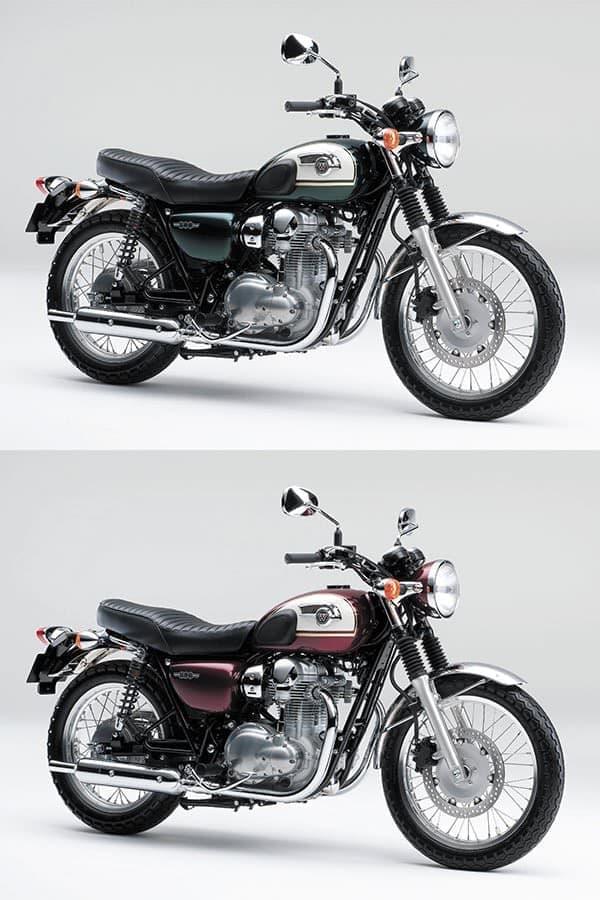 W800(2015年モデル)  上:メタリックダークグリーン×パールアルパインホワイト  下:キャンディダイヤモンドレッド×パールアルパインホワイト
