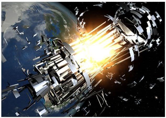 人工衛星&ロケット部分の爆発のイメージ