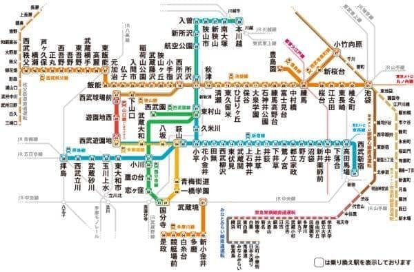西武鉄道の路線図  (出典:西武鉄道)