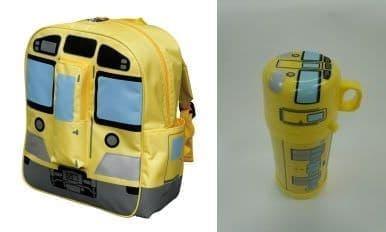新2000 系黄色い電車「オリジナルリュックサック」(左)、  「オリジナル水筒」(右)
