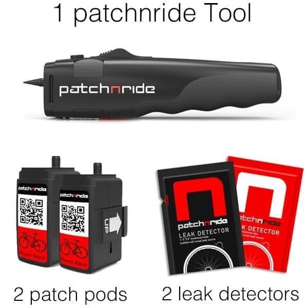 30ドルの出資で入手可能なパッケージ  本体1個(上)、パンク修理用ポッド2個(左下)、「Leak Detector」2個(右下)