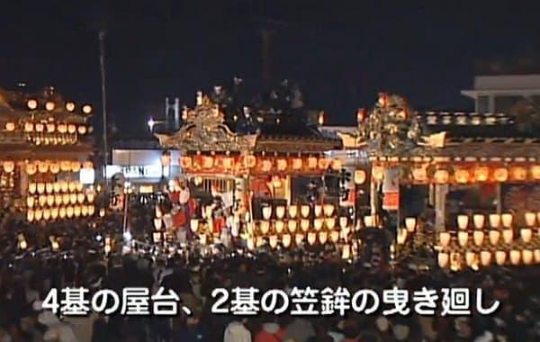 祭礼当日は2台の笠鉾と4台の屋台が曳行される