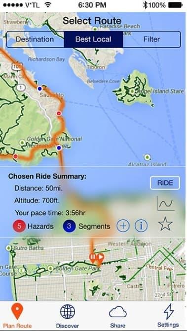 スマートフォンアプリでは、走行ルートを設定できる