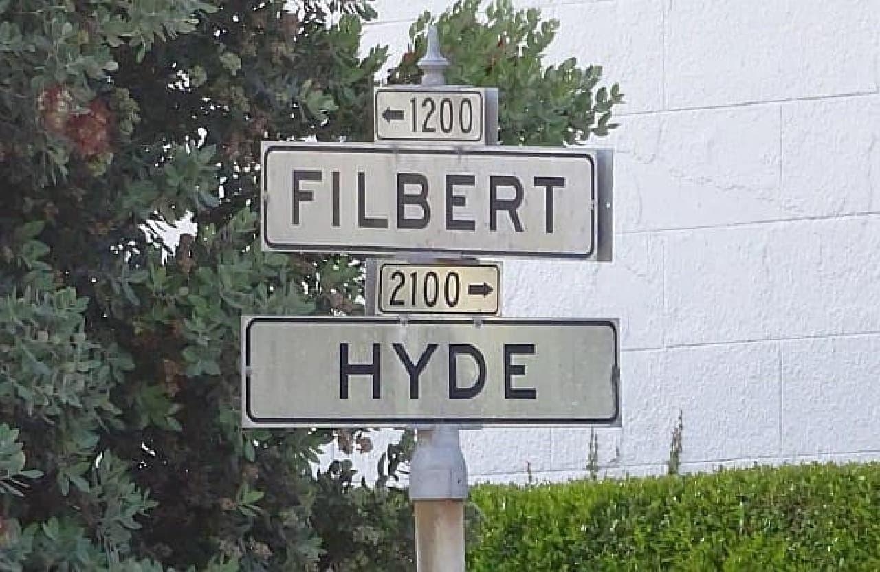 サンフランシスコのおススメスポット  フィルバートストリートとハイドストリートがクロスする場所です