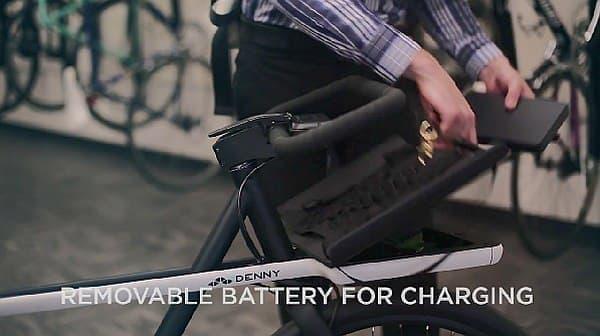 バッテリーはフロントラックの下に隠されており  一見したところでは電動アシスト自転車だとわからない