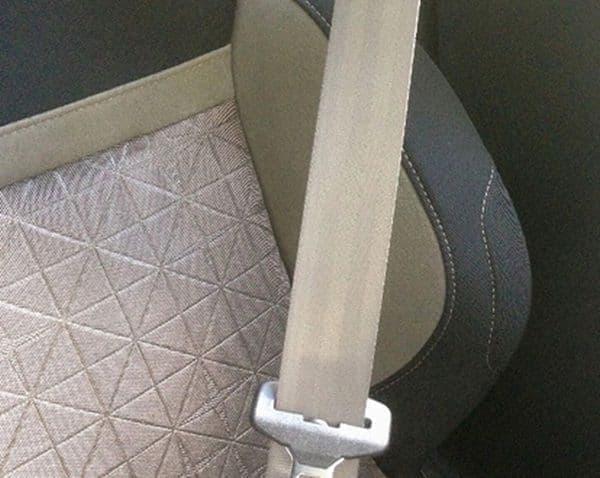 専用シートとシートベルトはカラーコーディネートされている