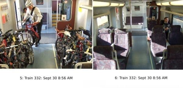 同時刻の Caltrain 車内の様子  (写真左は自転車持ち込み用車両、右は一般車両)   (出典:San Francisco Bicycle Coalition)