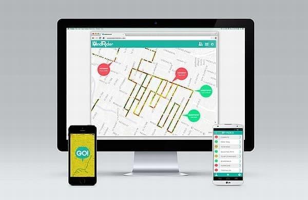 作成されたクラウドソースマップは、PC、タブレット、スマートフォンから参照可能  サイクリストは他の人が公開したマップを参照し  最もストレスの少ない走行ルートを調べられる