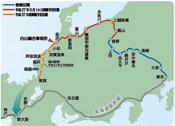 北陸新幹線は、北陸地域を経由し、東京と大阪を結ぶ路線  (画像出典:石川県企画振興部 新幹線・交通対策監室)