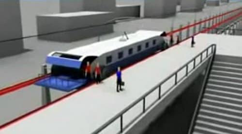 ホーム到着後、乗客はポッドから下車する  ポッドは、次の電車に乗り込む乗客によって利用される