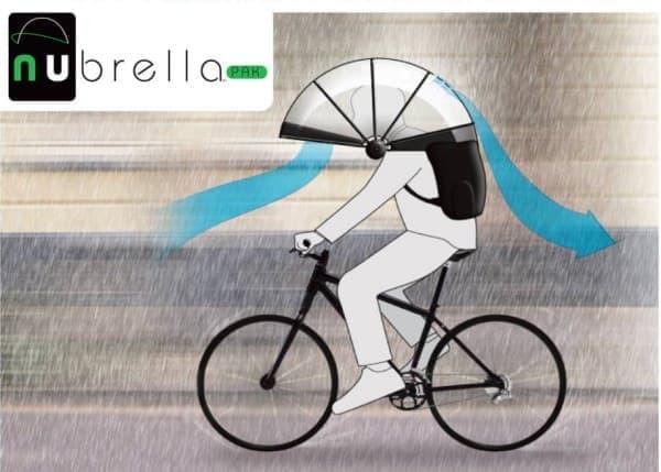 「Nubrella」装着時の独自の空気の流れ
