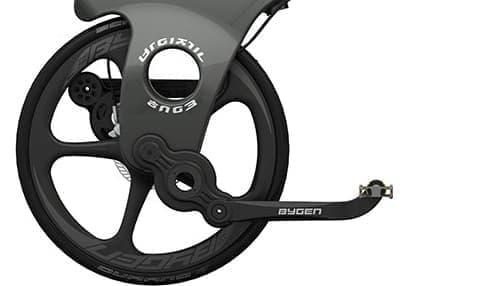 クランクシャフトにより、通常の自転車とほぼ同じ感覚で漕げる