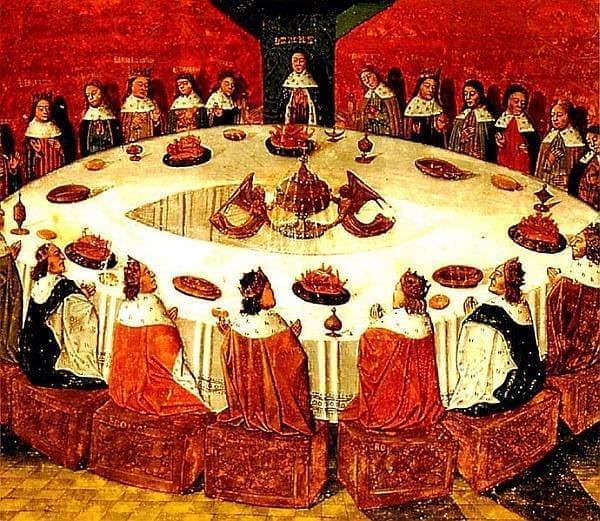 アーサー王と円卓の騎士を描いた中世の西洋画(出典:Wikipedia)