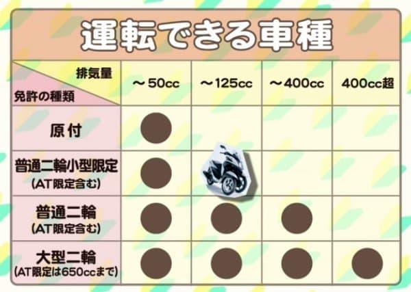 大島さんが取得した「AT 小型限定普通自動二輪免許」  (画像出典:ヤマハ Web サイト「大島優子 二輪免許取ります!!」)