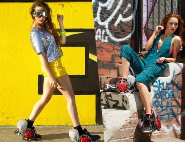 「RocketSkates」は靴に取り付けて使用するローラースケート