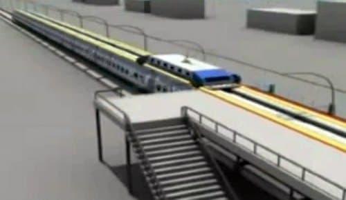 ポッドは電車の屋根上にロックされ  乗客はポッド内から階段を使って客車内に下りる