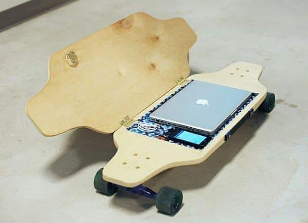 スケートボード通勤者の悩みを解決する BriefSkate  MacBook を収納できる?