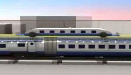 「駅に停車しない電車」のデザインコンセプト  乗客は電車上部に取り付けられる「ポッド」を利用して乗車する
