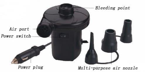 電動ポンプは、シガーソケットから電力でマットレスを膨らませる