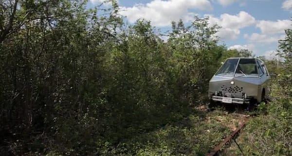廃線後、わずか20年足らずでジャングルに戻っていく様子が映されている