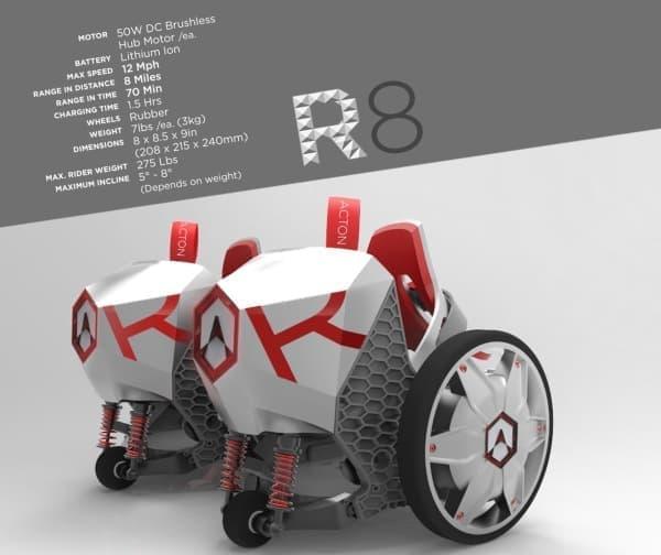 8マイル(約12.9キロ)走行可能な R8
