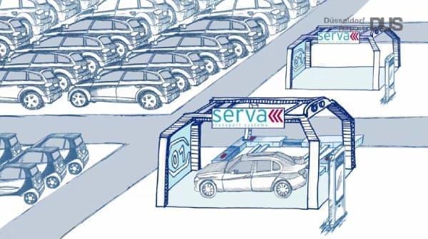 駐車ロボット「Ray」は自動車を持ちあげ