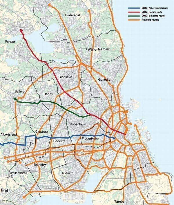 コペンハーゲンに構築予定の「サイクリングスーパーハイウェイ」
