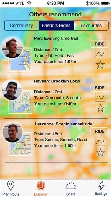 アプリでは、友だちの走行ルートなどを利用することも可能だ