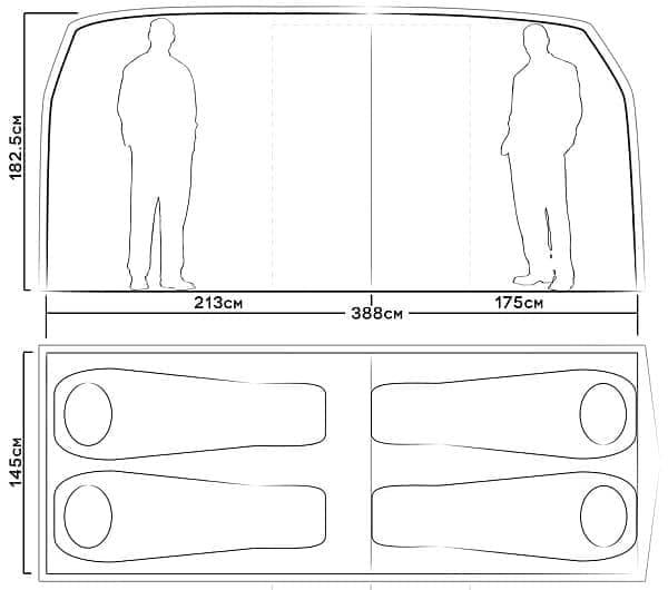「VW Camper Van Tent」の高さはなんと182.5cm!  ゆったりしています