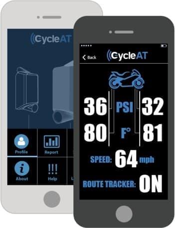 「CycleAT」は、タイヤの空気圧などを Bluetooth 経由でスマートフォンに伝える