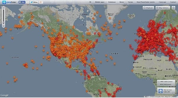 Plane Finder は、ほぼ全世界の航空交通状況をカバーしている