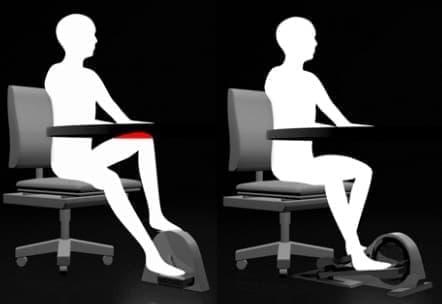 従来のぺダリングマシン(左)と「Cubii」(右)  「Cubii」では机に膝が当たらない