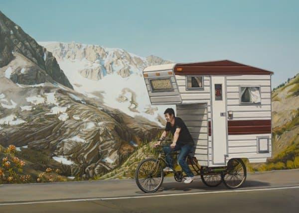 Kevin Cyr 氏が描いた「Camper Bike」のイメージ画  こんな雪山にも行けちゃいます  (注:あくまでも、イメージです)
