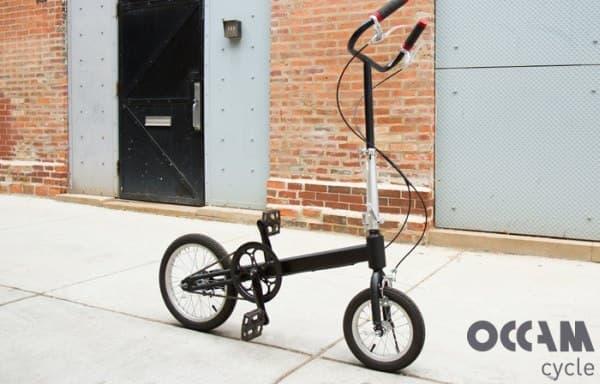 「Occam Cycle」は、サドルを取り払うことで折り畳み機構をシンプルにした