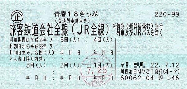 参考画像:平成22年発行の青春18きっぷ (出典:ウィキメディア・コモンズ)