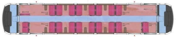 車内平面図  (左が小田原寄り、右が強羅寄り)