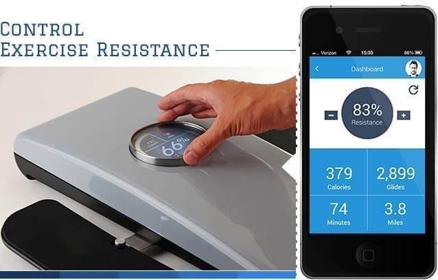 専用のスマートフォンアプリでは、エクササイズの負荷を管理したり、  消費カロリー、歩数、移動距離などを表示したりできる