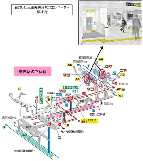春日駅の立体図