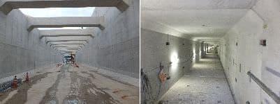 左:トンネル入口、右:非常用通路