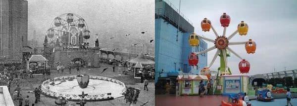 左:初代の通称「お城観覧車」 (1968~1989)、  右:2代目「グレ太の観覧車 フラワーホイール」 (1989~)